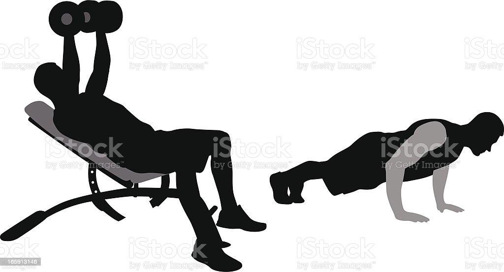Body Building Vector Silhouette vector art illustration