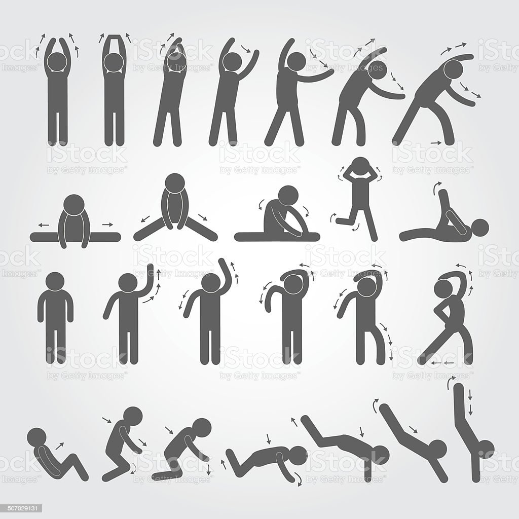 body exercise stick figure icon vector art illustration