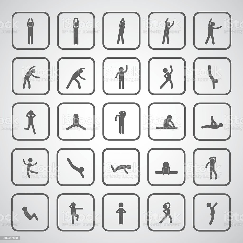 body exercise stick figure icon vector art illustration