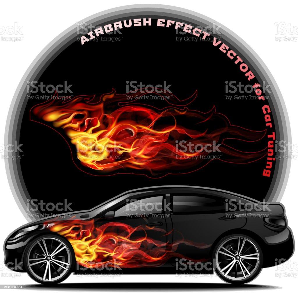 Body Kit For Cars- fiery tail vector art illustration