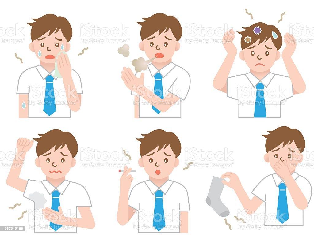 body odor businessman vector art illustration