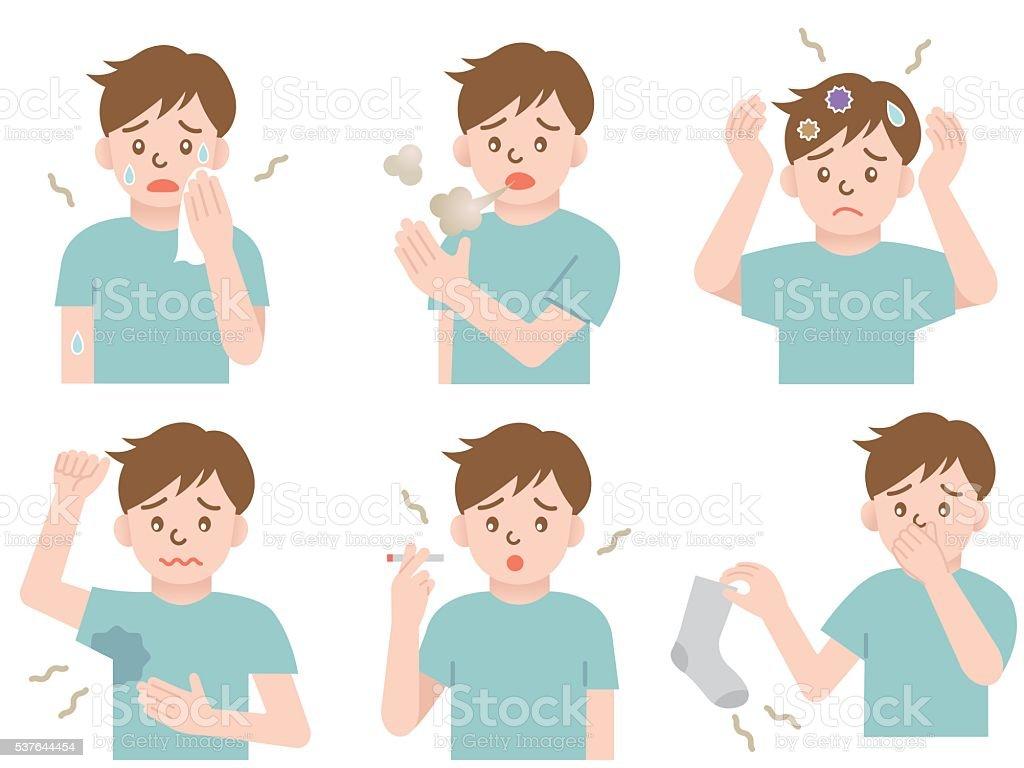 body odor man vector art illustration