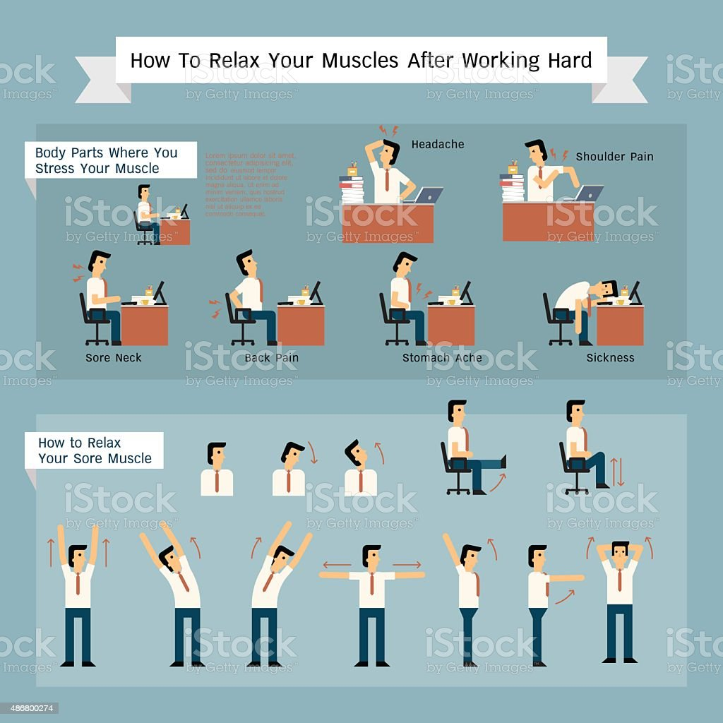 body pain and relax way muscle vector art illustration