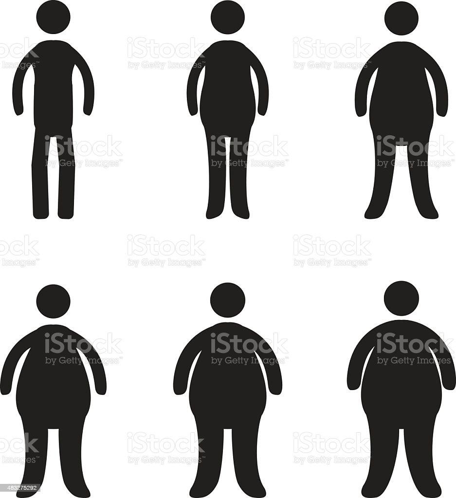 Body types and obesity progression vector art illustration
