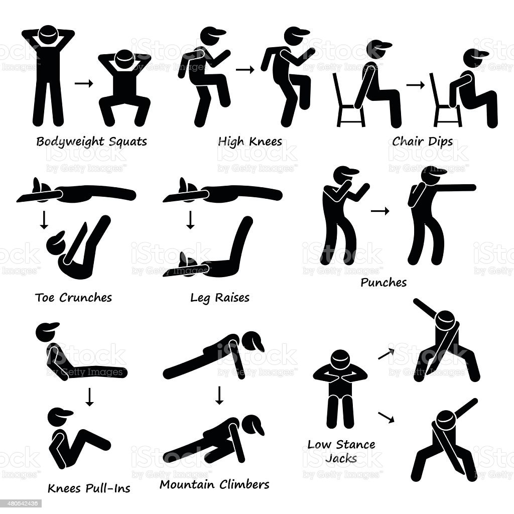 Body Workout Exercise Fitness Training (Set 2) Pictogram vector art illustration