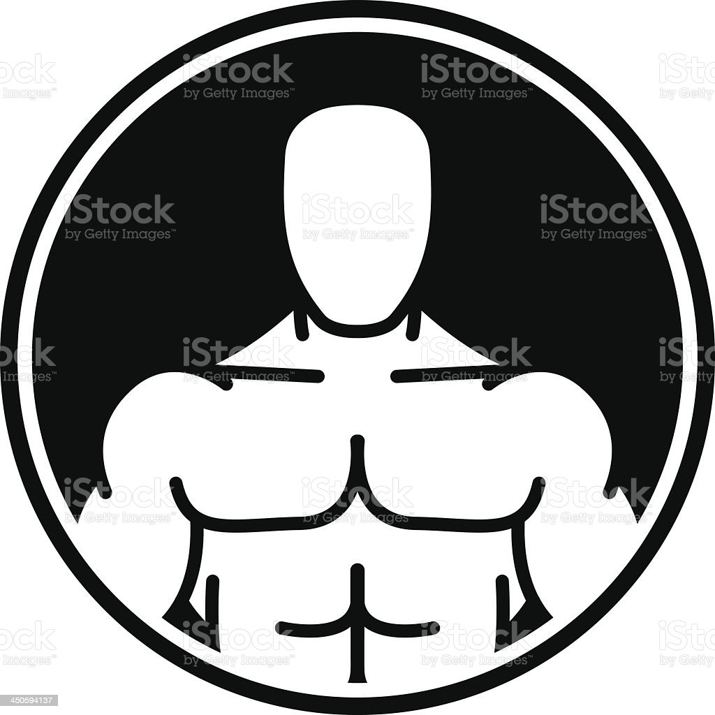 Bodybuilder symbol in black circle royalty-free stock vector art