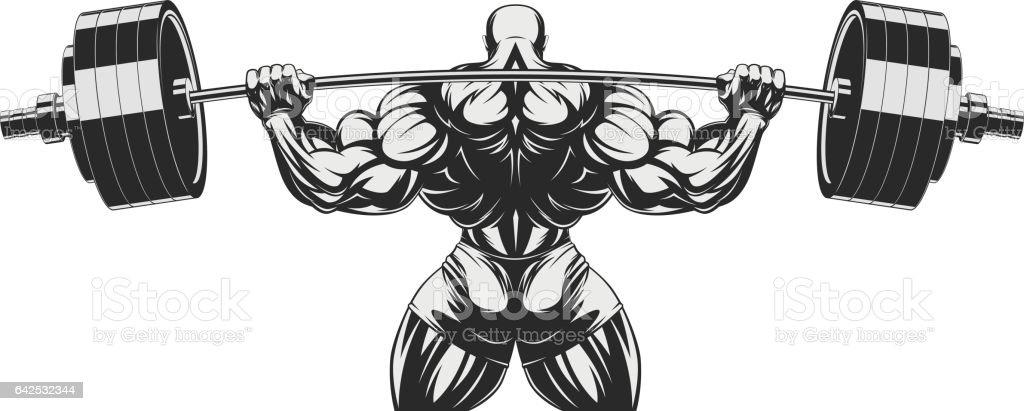 Bodybuilder with big biceps vector art illustration
