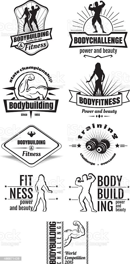 Bodybuilding and fitness emblems vector art illustration
