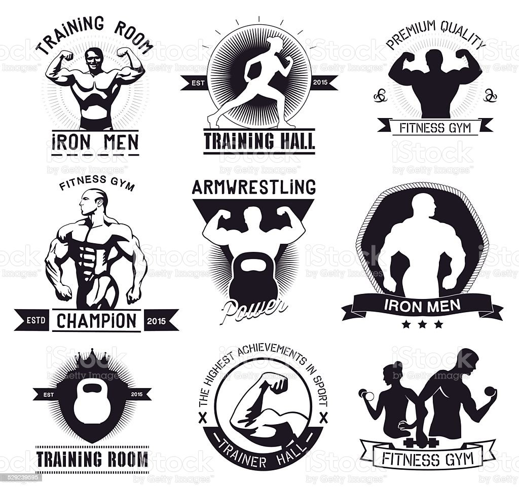 Bodybuilding and fitness gym logos and emblems vector art illustration