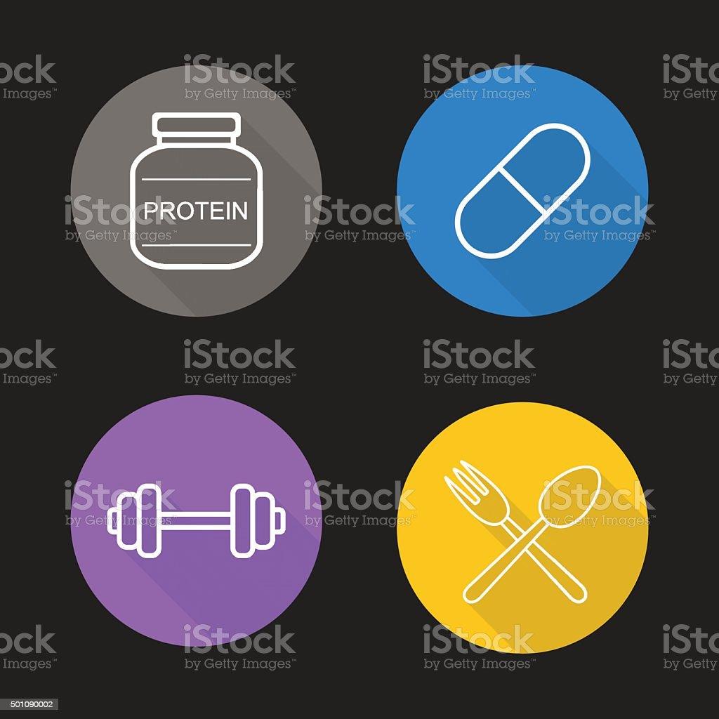 Bodybuilding flat linear icons set vector art illustration