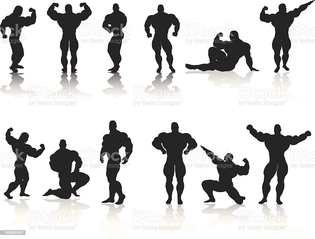 Bodybuilding Silhouette Collection royalty-free stock vector art