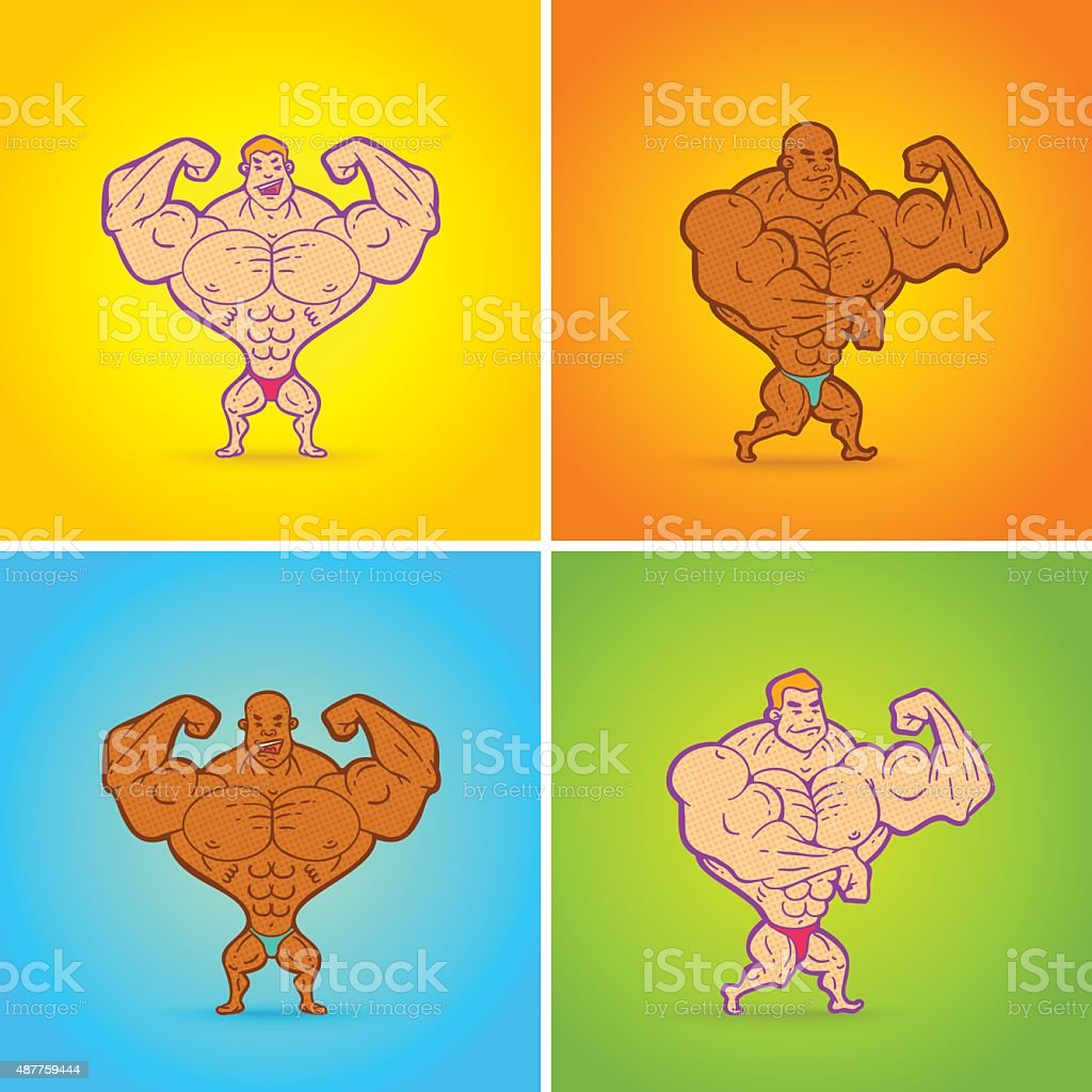 bodybuilding vector art illustration