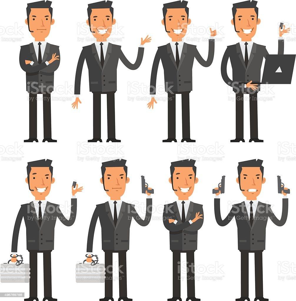 Bodyguard in different poses vector art illustration