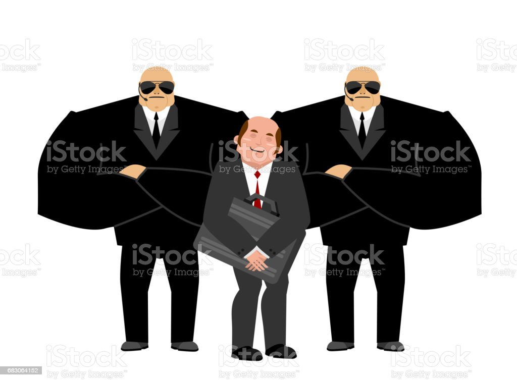 Bodyguard Services and businessman with suitcase. VIP protection. Black suit and hands-free. Strong Security on white background. customer protection and professional team work vector art illustration
