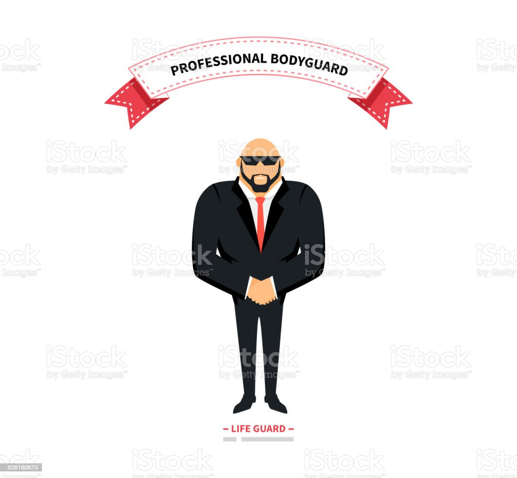 Bodyguards Team People Group Flat Style vector art illustration