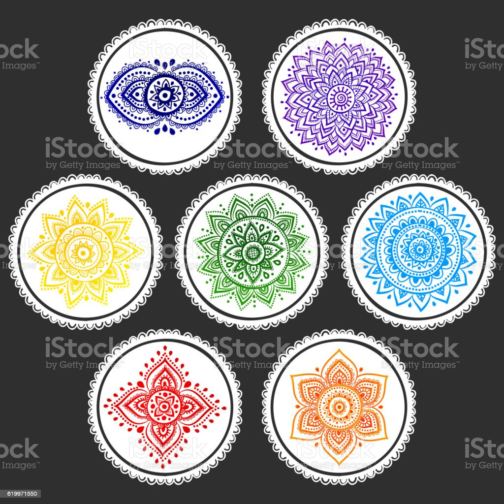 Bohemian Indian chakra Mandalas. Vintage Henna tattoo style Indi vector art illustration