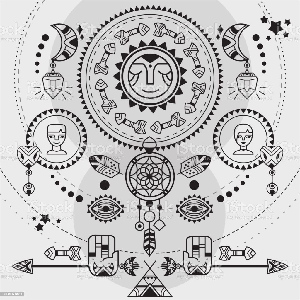 Bohemian poster vector art illustration
