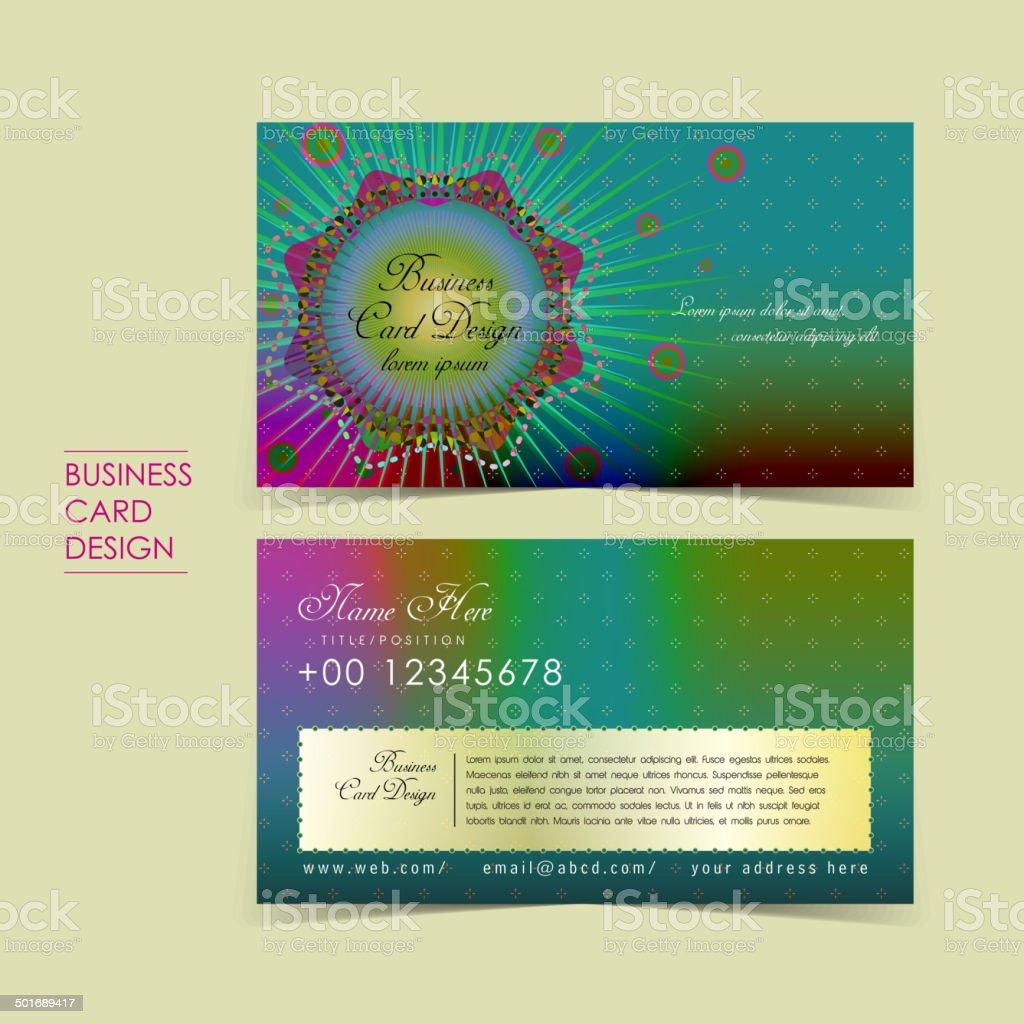 bohemian style vector business card vector art illustration