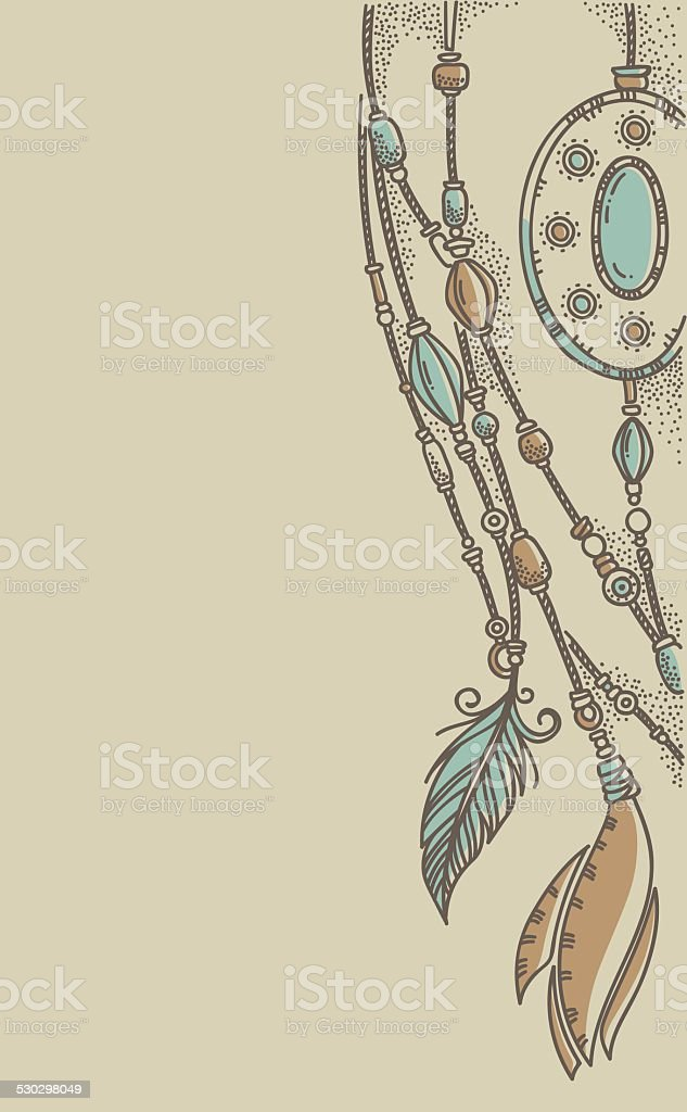 boho chic, hand drawn background in craft style vector art illustration