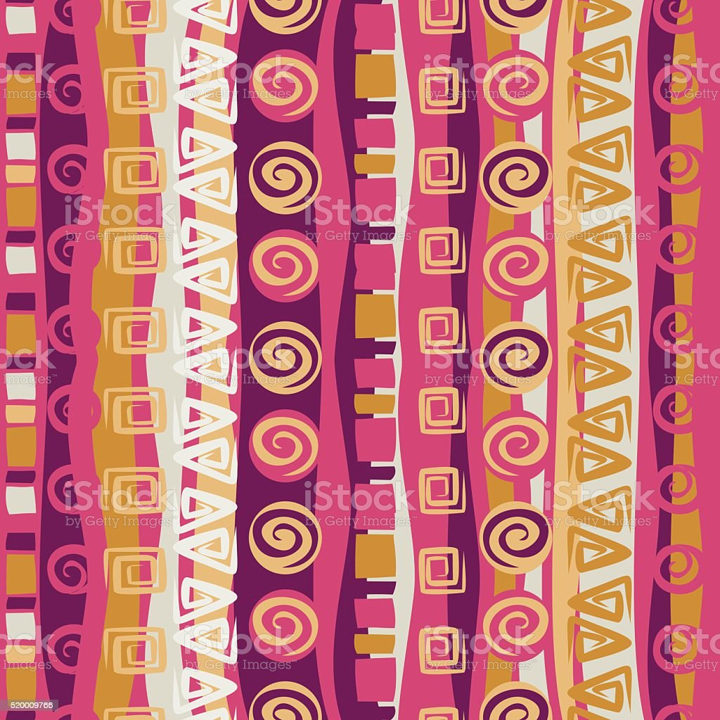 Boho ethnic seamless pattern with tribal elements. Striped vintage ornament. vector art illustration