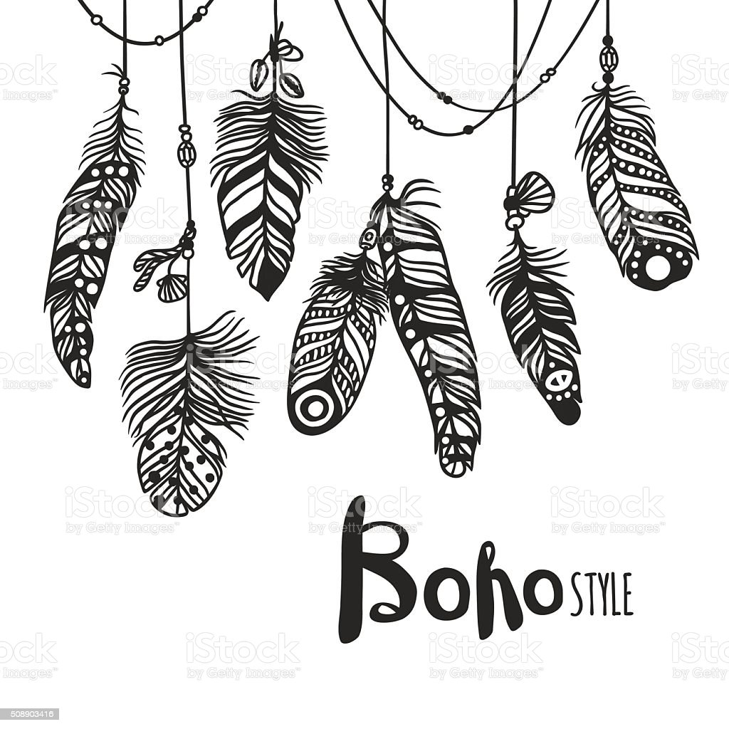 Boho feather hand drawn effect vector style illustration vector art illustration