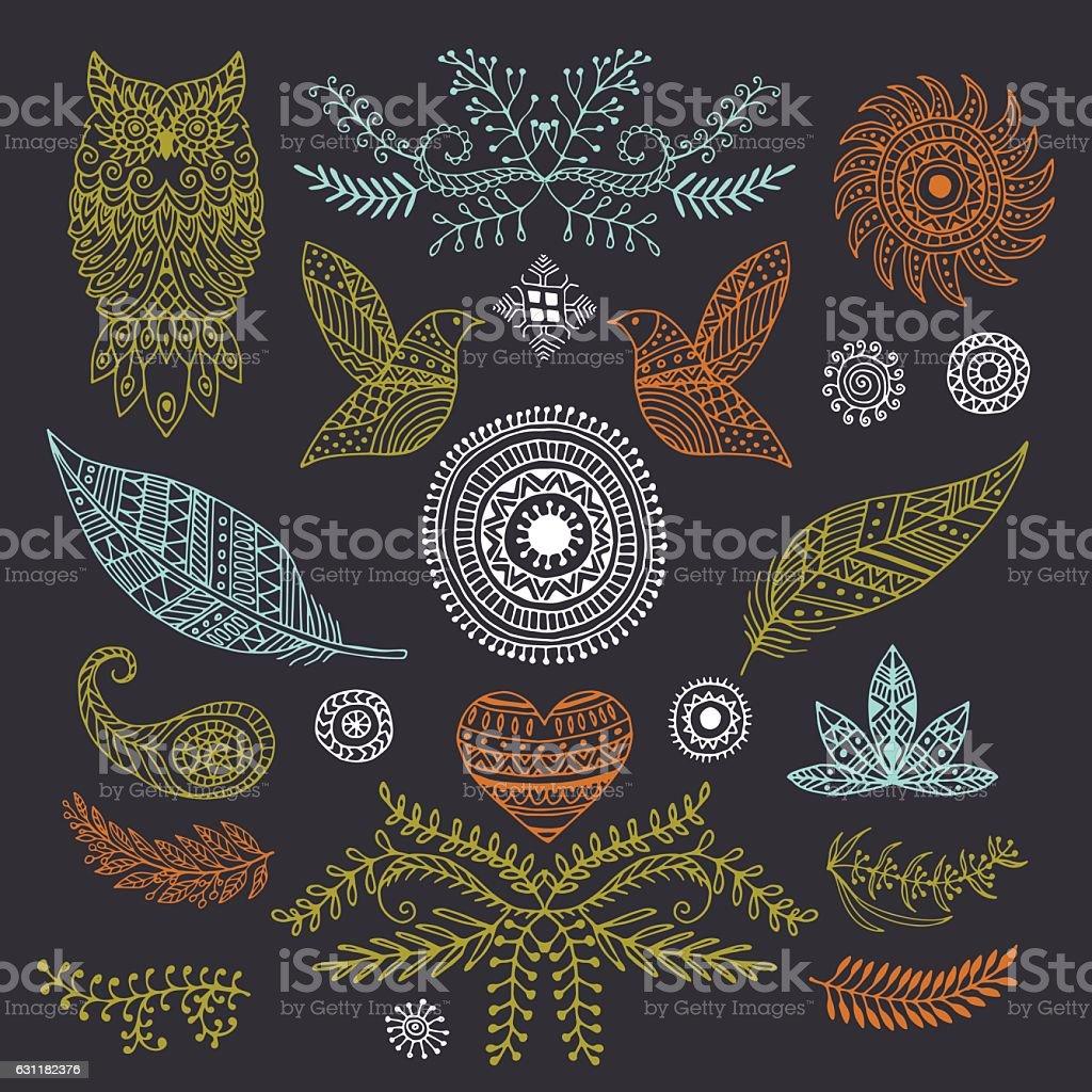 boho handmade set of elements royalty-free stock vector art