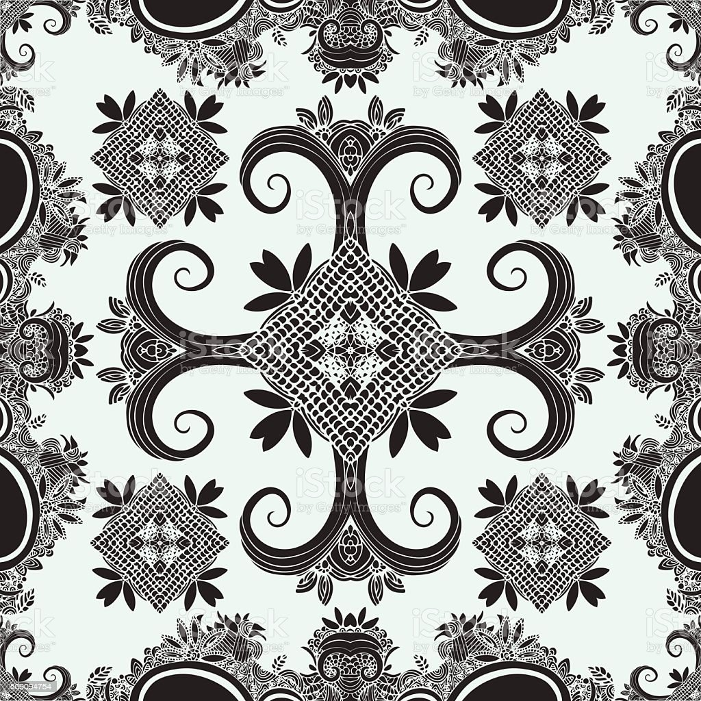 Boho ornament, texture. Monochrome. Abstract floral plant natural Seamless pattern royalty-free stock vector art