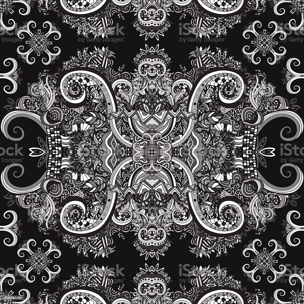 Boho ornament, texture. Monochrome. Ethnic black and white ornament royalty-free stock vector art