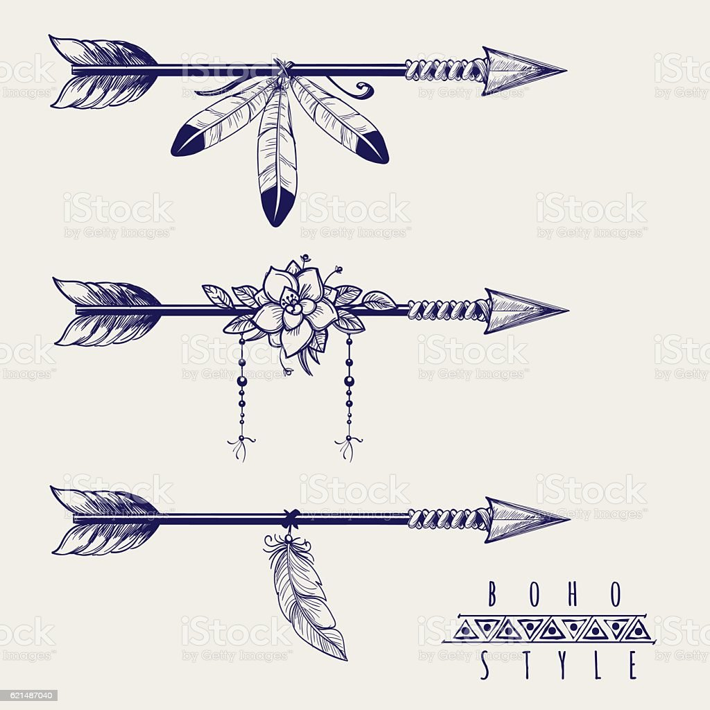 Boho style arrows feathers and flowers vector art illustration