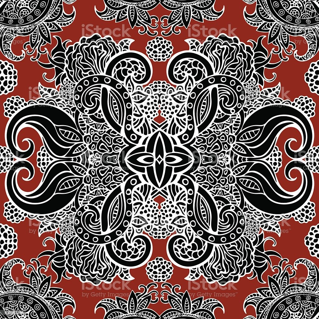 Boho style, ethnic black ornament, seamless pattern. Abstract floral plant royalty-free stock vector art