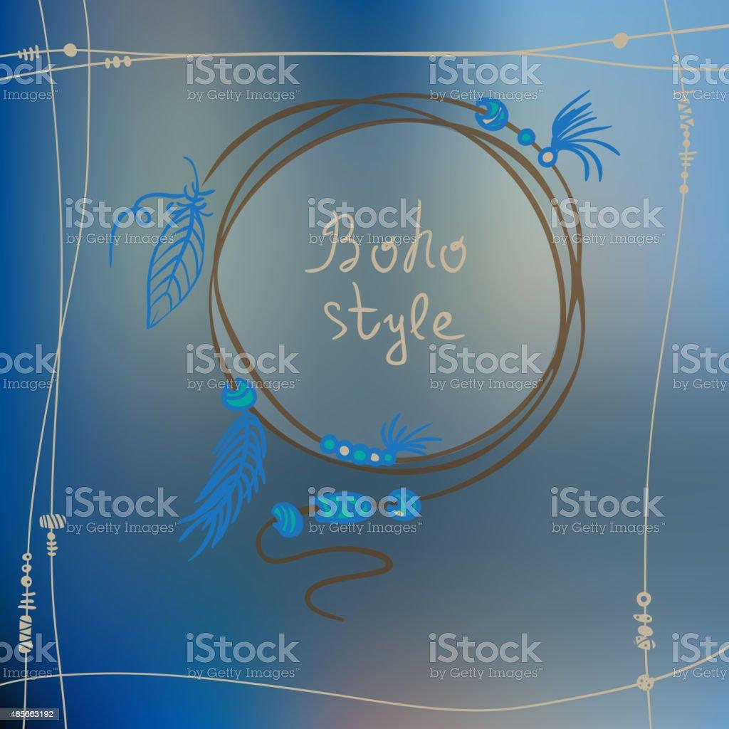 Boho style frame background. Vector illustration vector art illustration