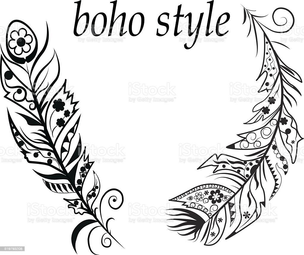 Boho style vector art illustration