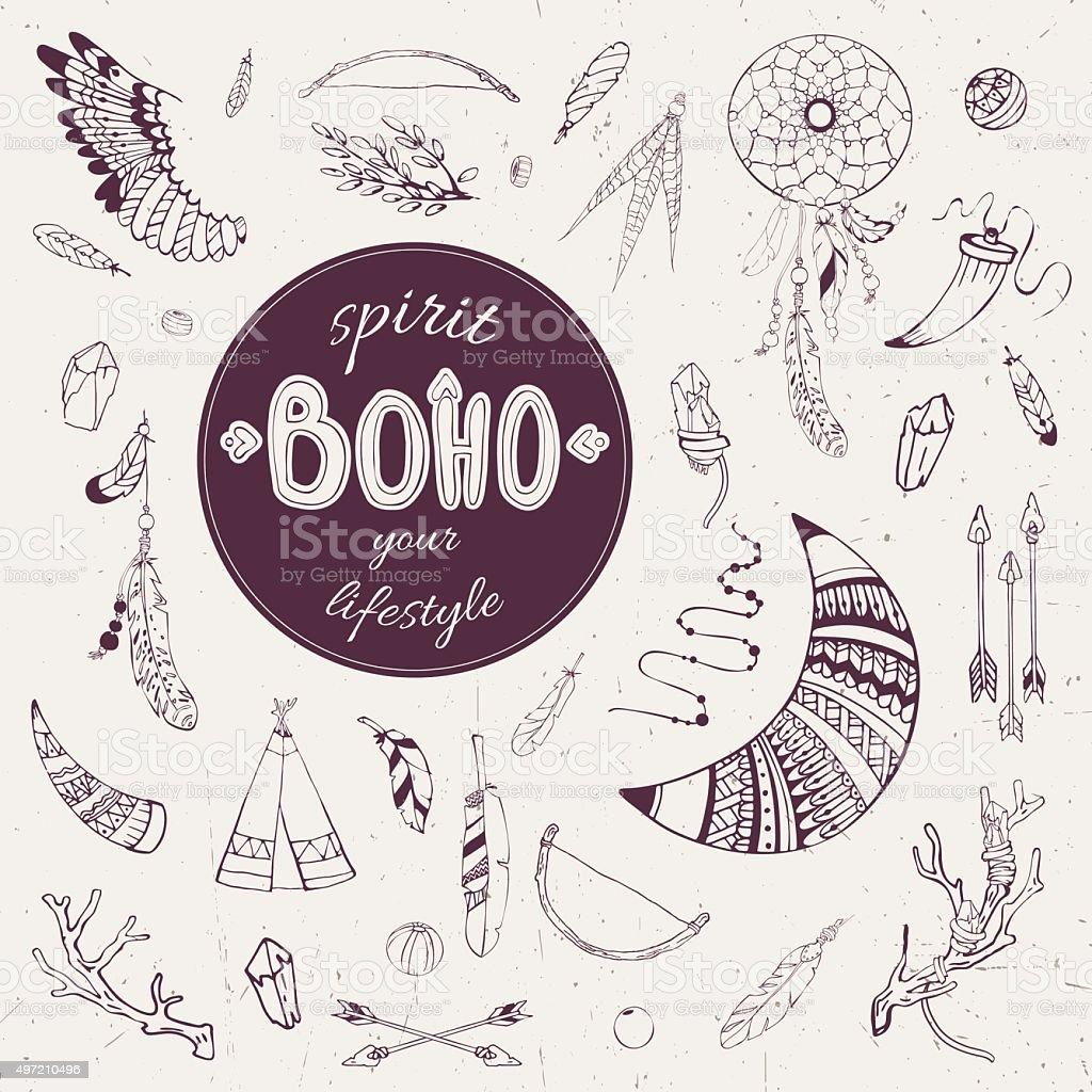 boho_spirit1 vector art illustration