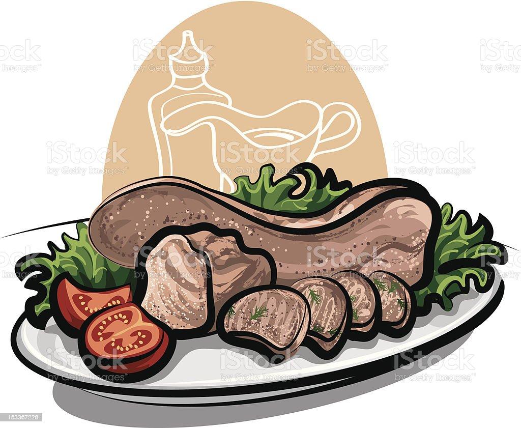 boiled beef tongue royalty-free stock vector art