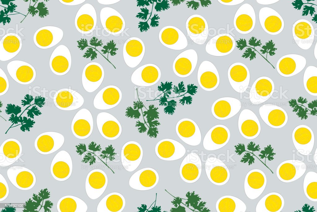 Boiled egg and parsley seamless background royalty-free stock vector art