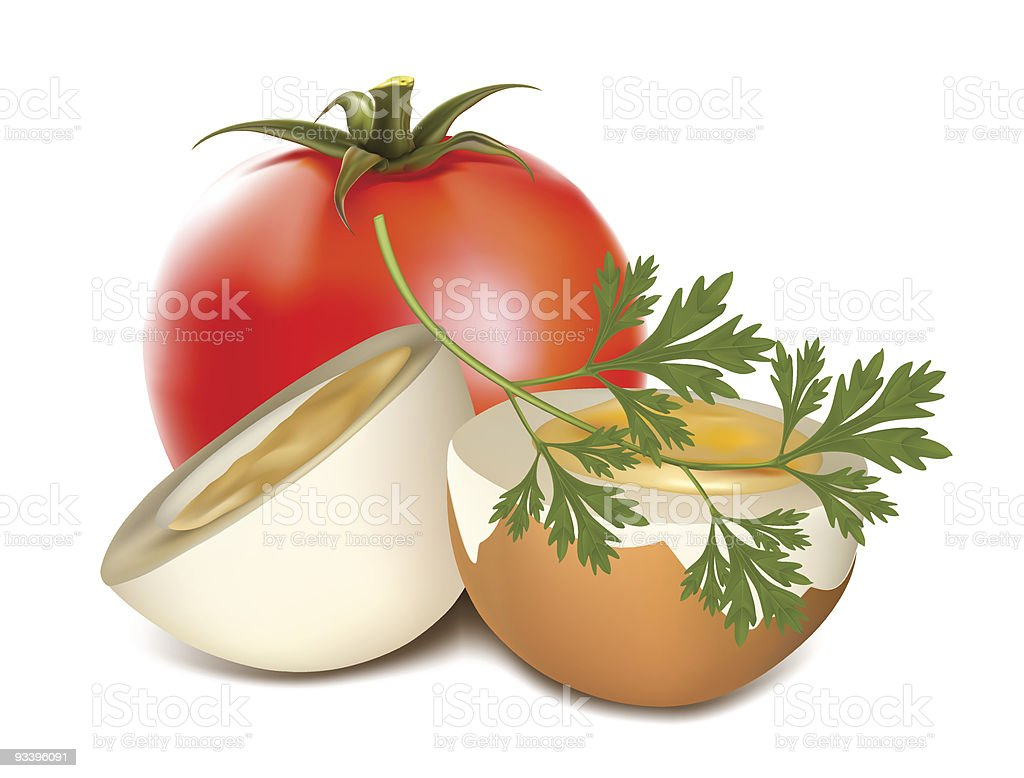 Boiled egg and tomato. royalty-free stock vector art