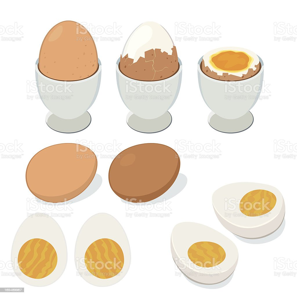 boiled egg vector art illustration