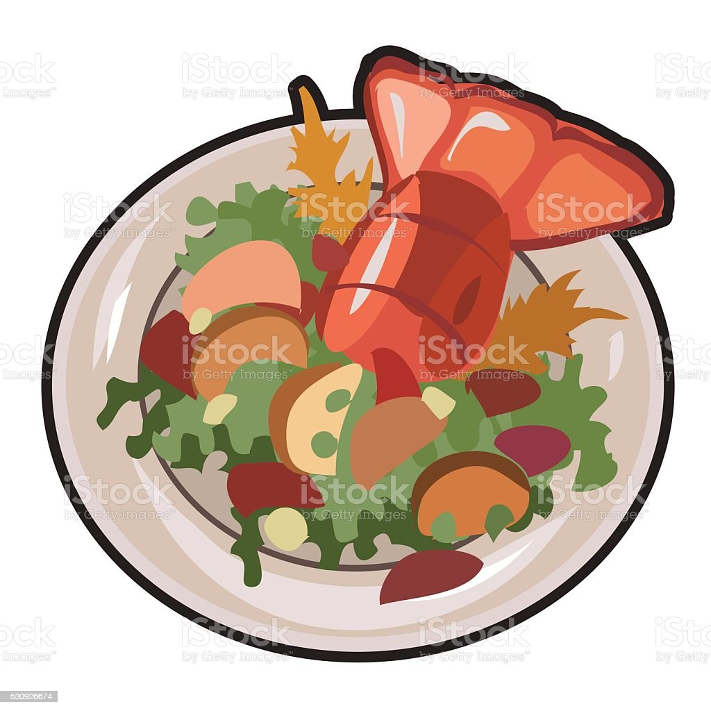 Boiled lobster with garnish. Vector isolated vector art illustration