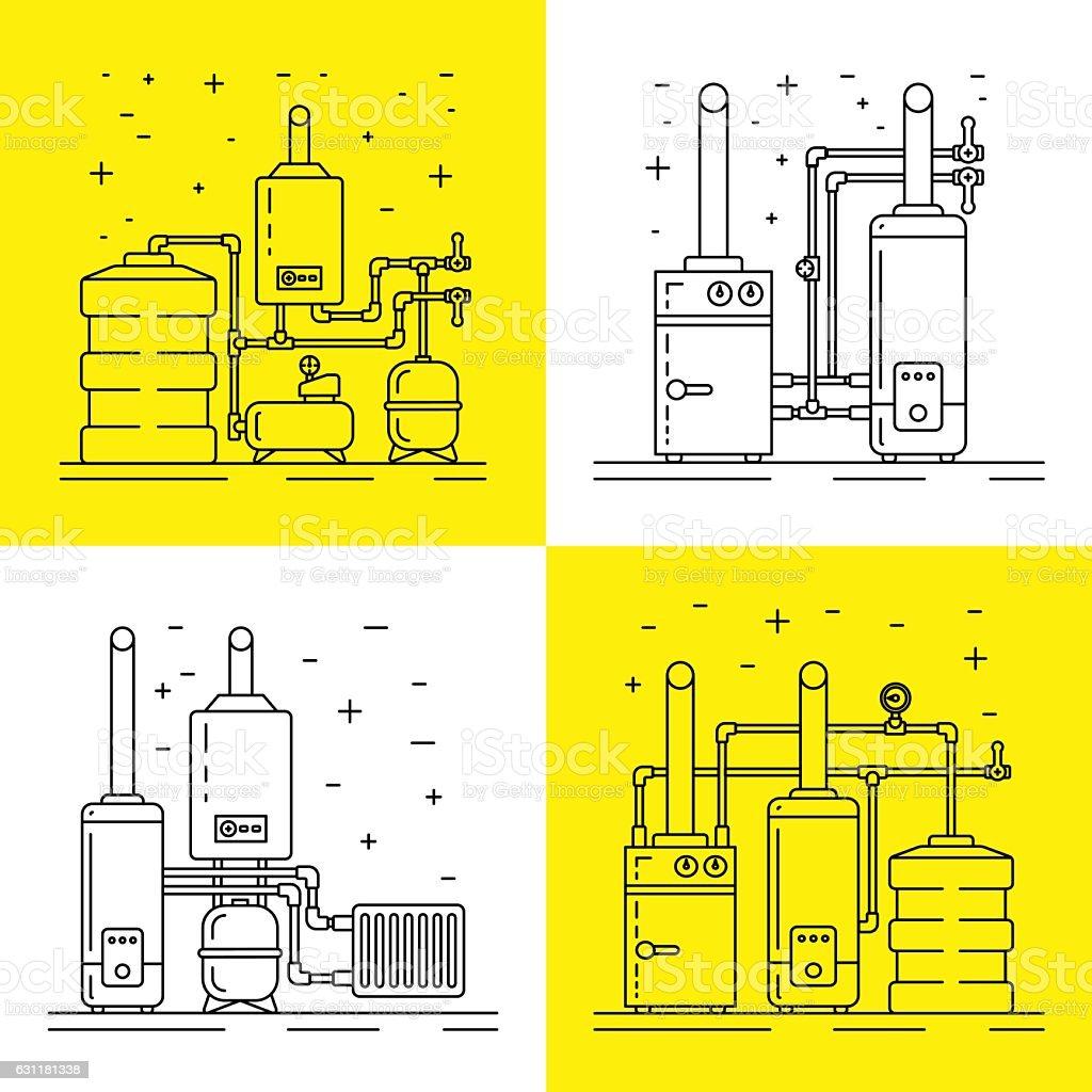 boiler room equipment vector art illustration