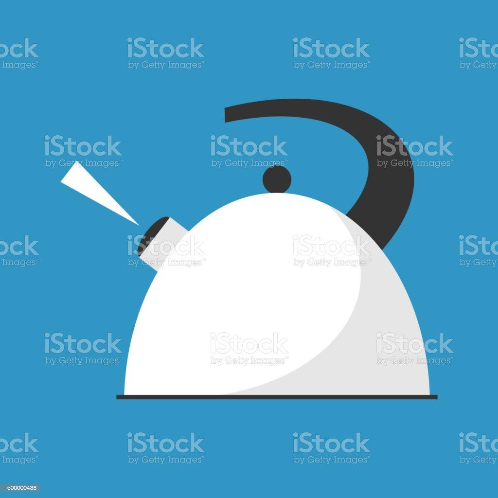 Boiling kettle flat vector. vector art illustration