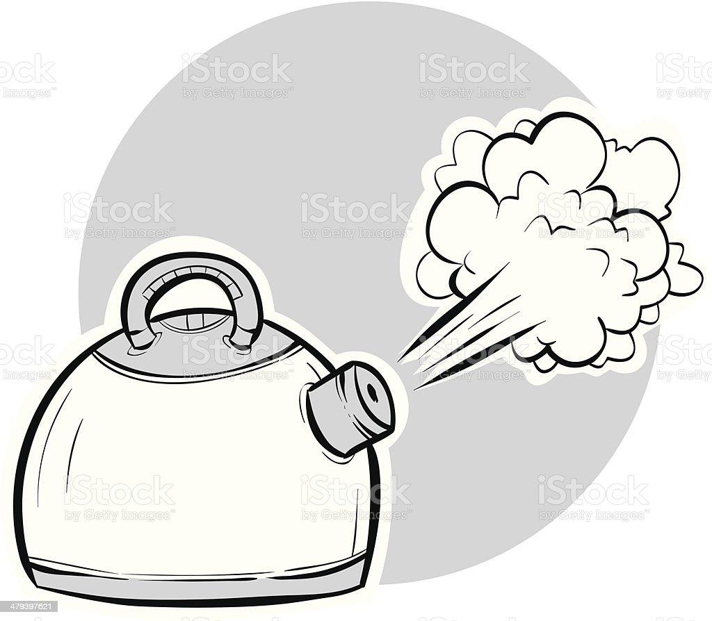 Boiling Kettle vector art illustration