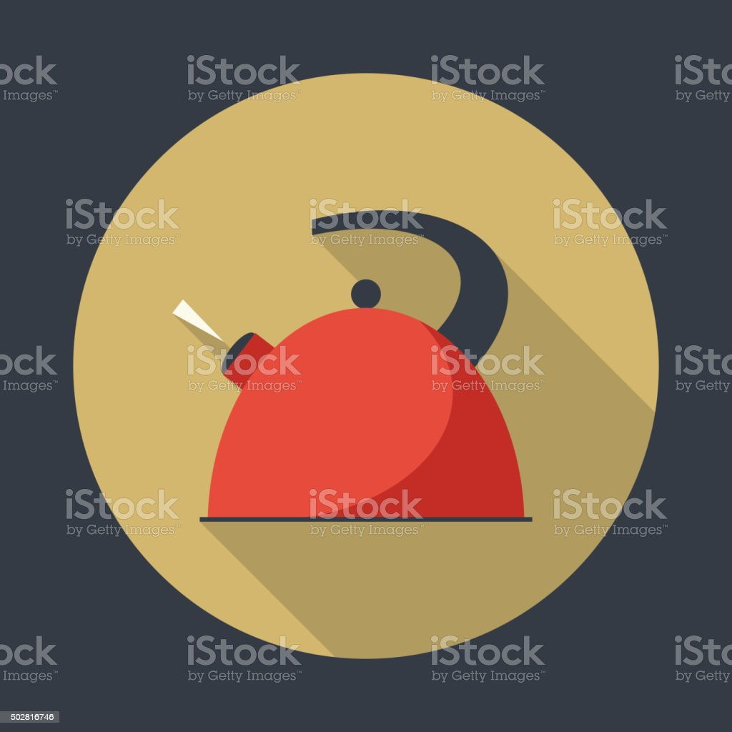 Boiling kettle with long shadow. vector art illustration