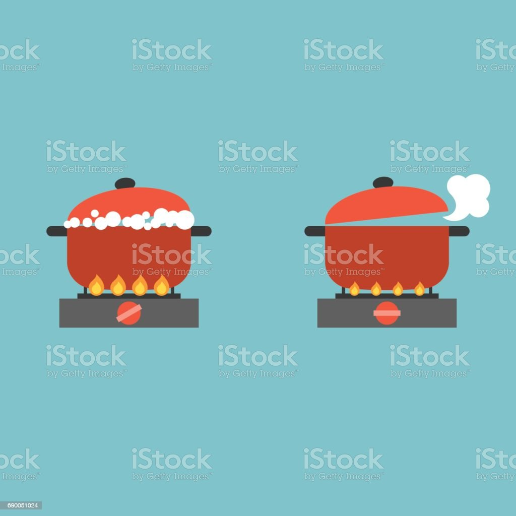 boiling pot vector art illustration