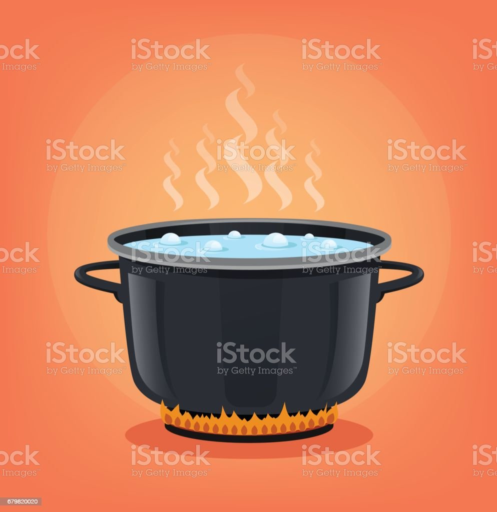 Boiling water in black pan. Cooking concept vector art illustration
