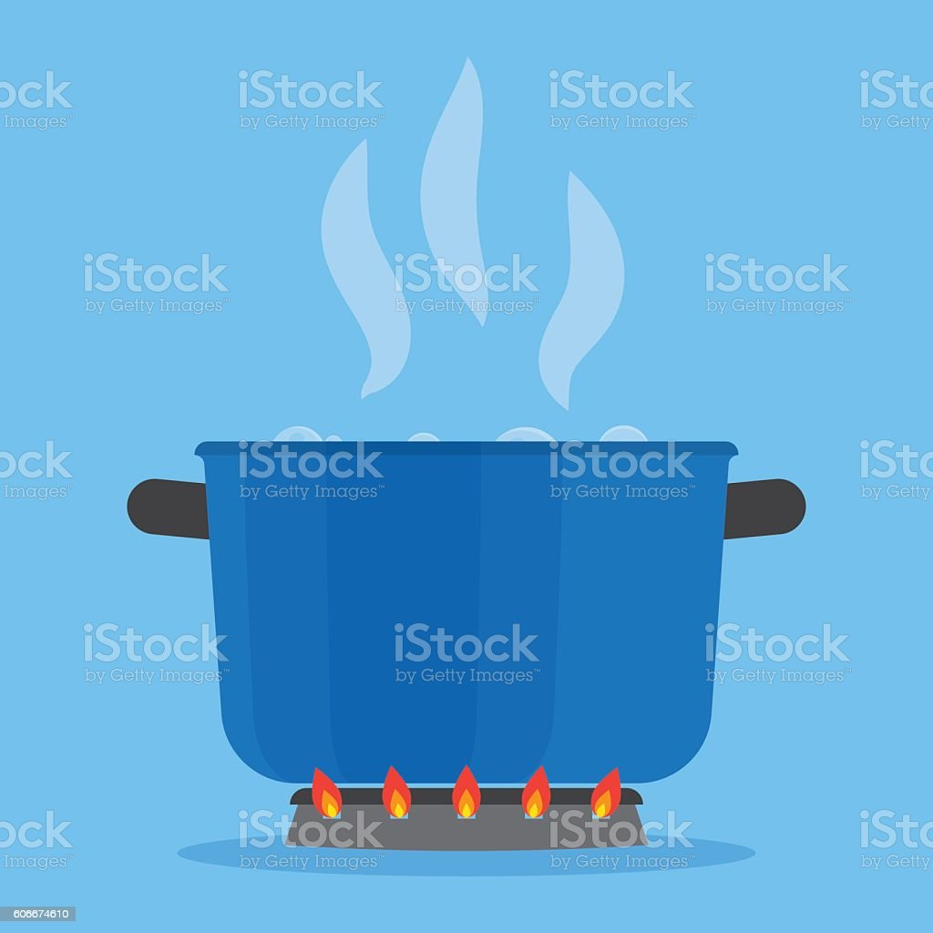 Boiling water in pan on stove in the kitchen vector art illustration