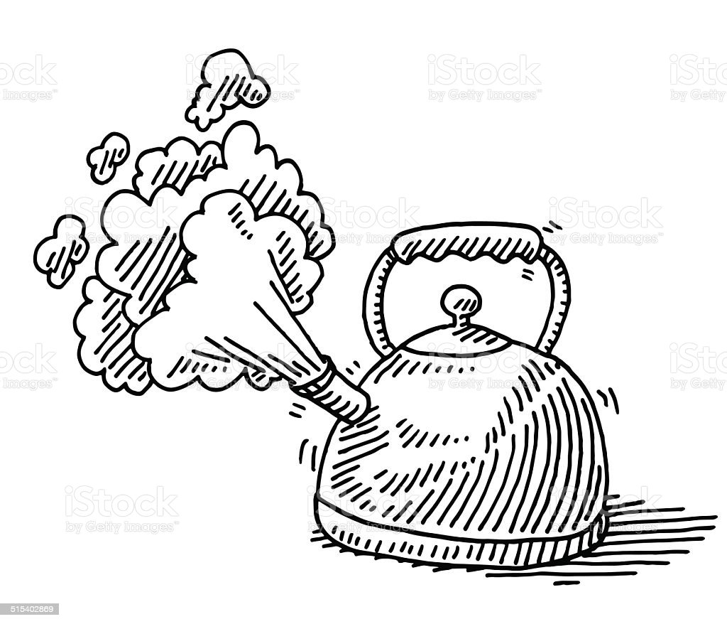 Boiling Water Steam Teapot Drawing vector art illustration