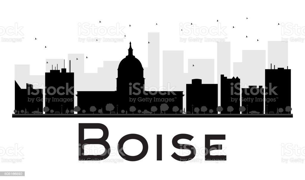Boise City skyline black and white silhouette. vector art illustration