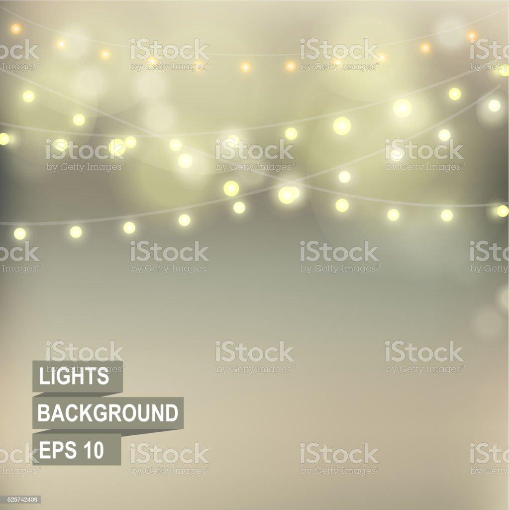 Bokeh garland lights. vector art illustration