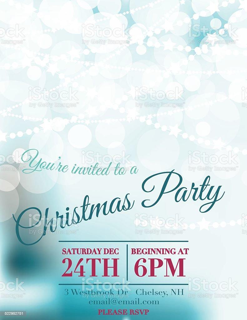 Bokeh Lights Christmas Party Invitation Template vector art illustration