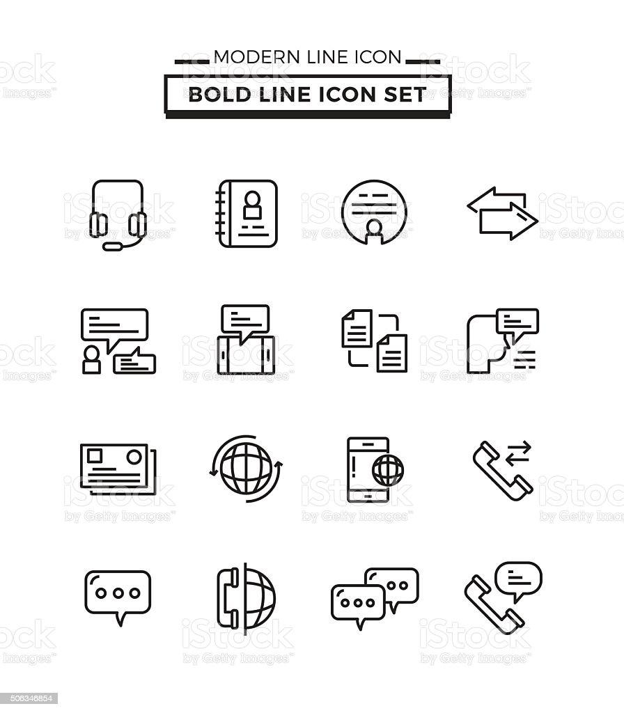 Bold lines icons set of Communication vector art illustration